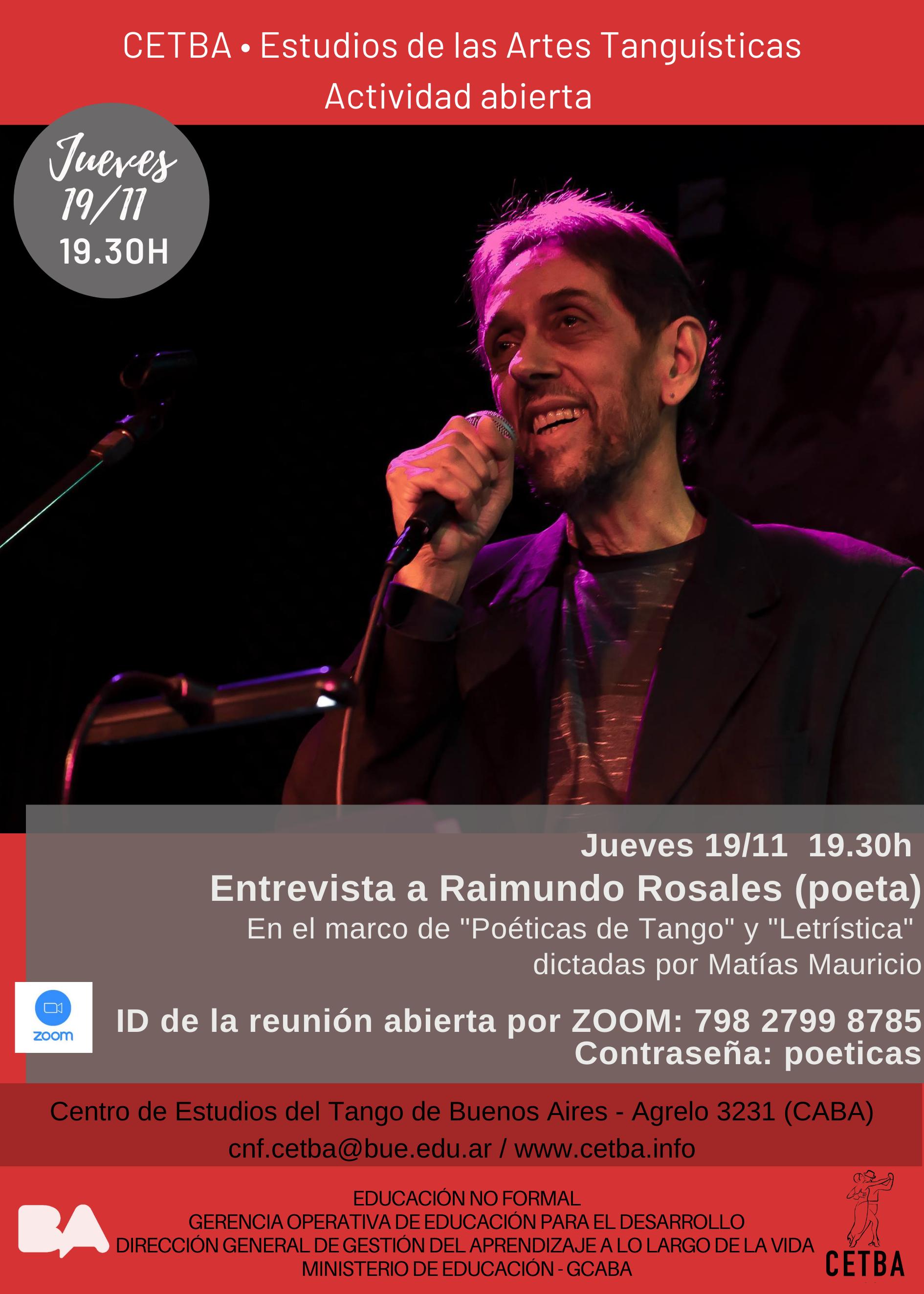 """Entrevista a Raimundo Rosales en """"Poéticas del Tango"""""""