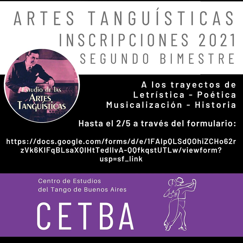 Inscripción 2° Bimestre Artes Tanguísticas